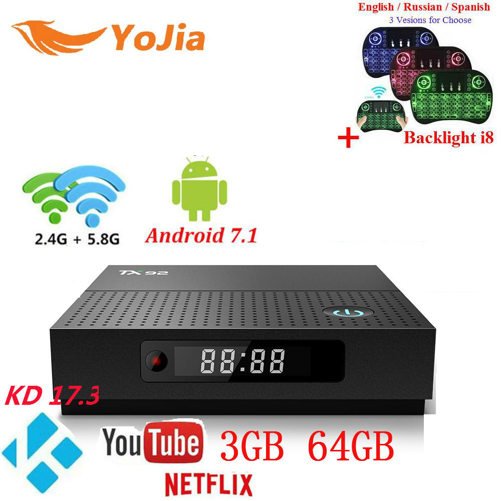 3GB64GB Vontar TX92 Amlogic S912 Android 7.1 TV Box Octa Core 2G/16G 3G/32G 1000M LAN Dual Wifi Stalker IPTV PK X92 T95z plus x92 a912 ap6255 professional 2g 16g home tv box top s912 octa core cpu wireless entertainment player us plug type