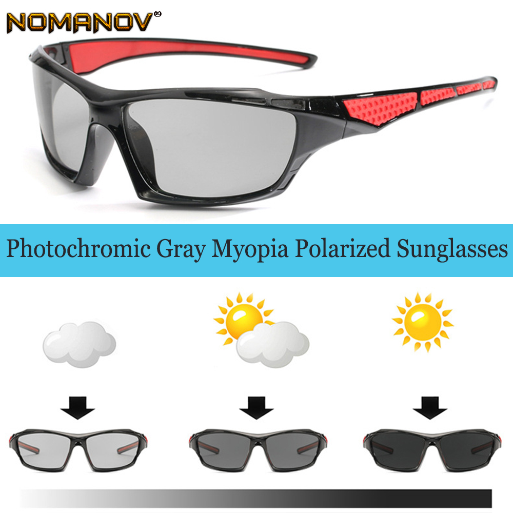 Photochromic GRAY Polarized Prescription sunglasses Custom Made Myopia Minus Prescription Lens 1 1.5 2 2.5 3 3.5 4 TO 6