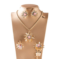 Dealky Gold Chain Necklace Design with Pendant African Gold Plating Costume Jewelry Set for Girls Gift Free Shipping