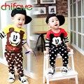 Chifave nueva primavera otoño niños bebés y niñas de manga larga traje de mickey t-shirt + pants 2 unids de otoño de moda infantil sistemas de la ropa
