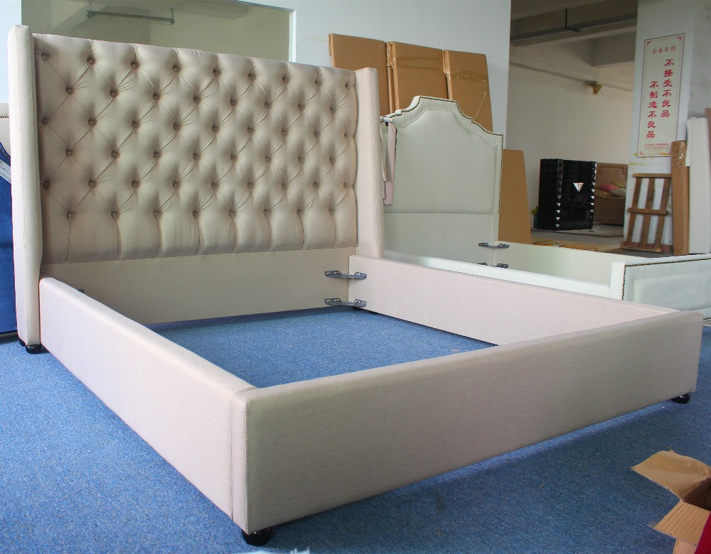 Gray High End Linen Fabric Bed Furniture Of American Luxury Home