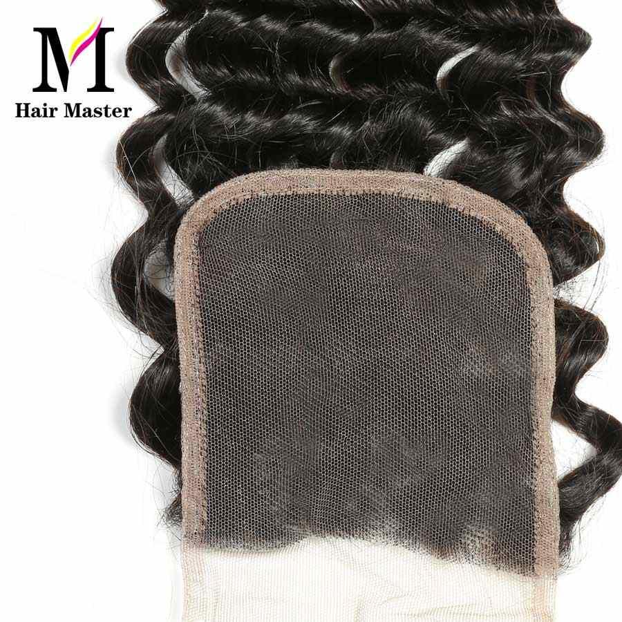 Волосы мастер Бразильские глубокие синтетические волосы волнистые Remy человеческие волосы закрытие 4x4 натуральный цвет кружева закрытие глубокий завиток чехол Бесплатная доставка