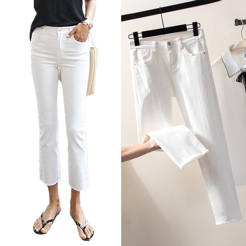 2019 Casual Weiß Schwarz Jeans Frau Hohe Taille Zerrissene Dünne Jeans Für Frauen Plus Größe Denim Mom Jeans Denim Hosen Jean Femme Exzellente QualitäT