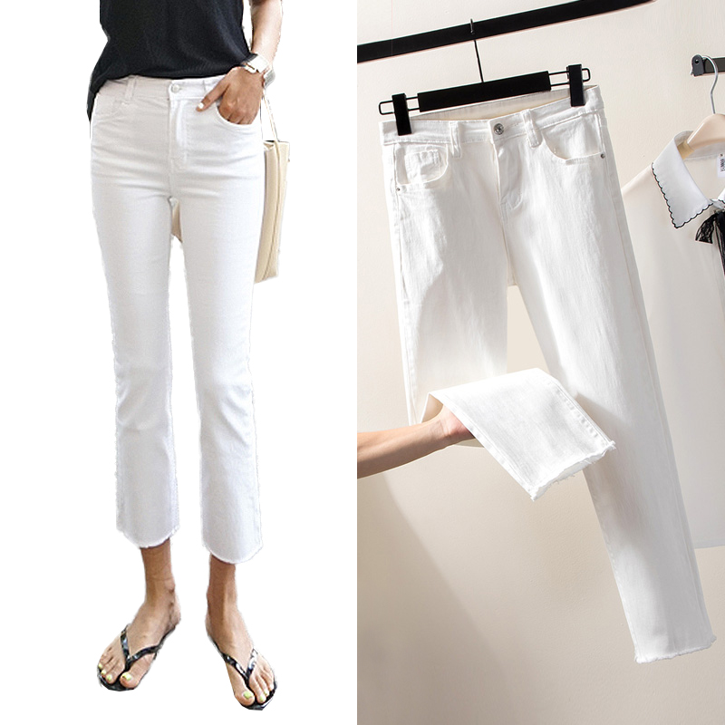 2019 Casual White Black   Jeans   Woman High Waist Ripped skinny   Jeans   For Women Plus Size Denim Mom   Jeans   Denim Pants   jean   femme