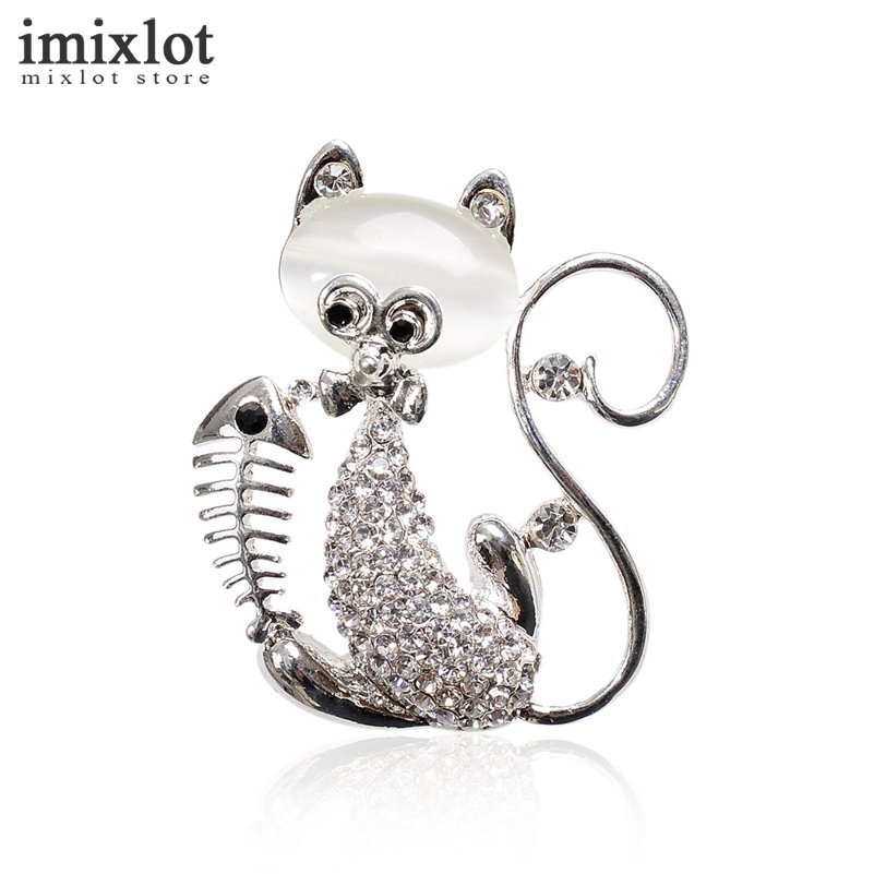 Imixlot Vintage Cute Crystal Cat Brooches Pin Suit Lapel Pins Opal Animal Brooch For Women Valentines Day Gift