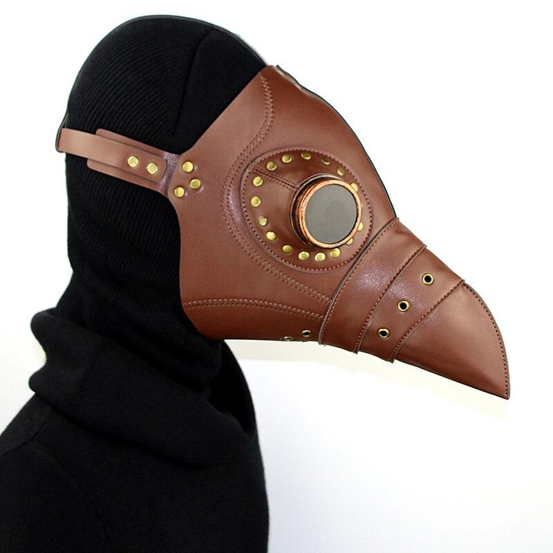 Cuir synthétique polyuréthane marron rétro oiseau bec peste médecin Cosplay Anime masque gothique vêtements Halloween Costume accessoires Steampunk accessoires