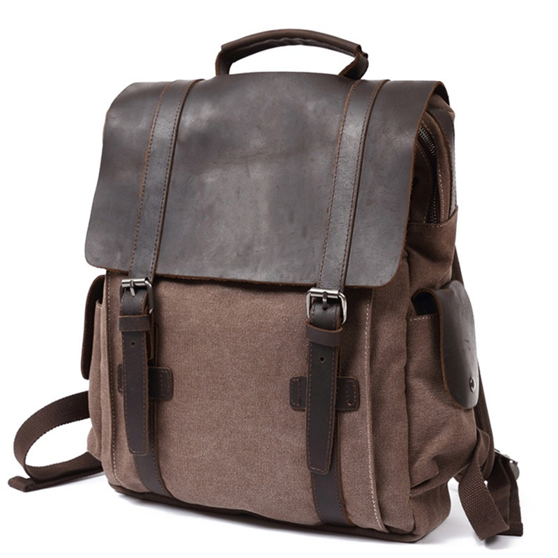 YUPINXUAN Vintage Algodón puro lona mochilas de cuero mochila escolar para hombres bolsa de viaje a prueba de desgaste portátiles de gran capacidad mochilas-in Mochilas from Maletas y bolsas    3