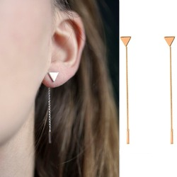 MxGxFam NEW Drop Long Line Earrings for Women Fashion Jewelry 18 k Yellow Gold Color