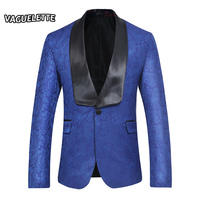 Embroidered Paisley Floral Blazer Men Royal Blue Shawl Collar Wedding Stage Jacket Plus Size Slim Fit