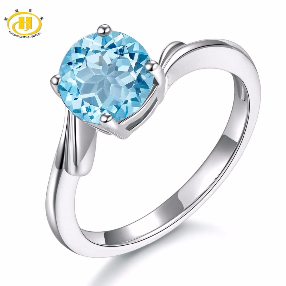 Hutang  7.0MM Genuine Sky Blue Topaz Engagement Ring Solid 925 Sterling Silver Wing Fine Fashion Stone Jewelry Mothers Day GiftHutang  7.0MM Genuine Sky Blue Topaz Engagement Ring Solid 925 Sterling Silver Wing Fine Fashion Stone Jewelry Mothers Day Gift