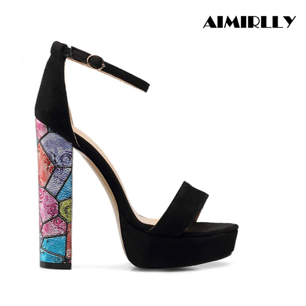 Aimirlly Summer Women Chunky Heel Sandals Platform Pumps Ankle Strap Wedding Party Dress Shoes Black Faux Suede in High Heels from Shoes