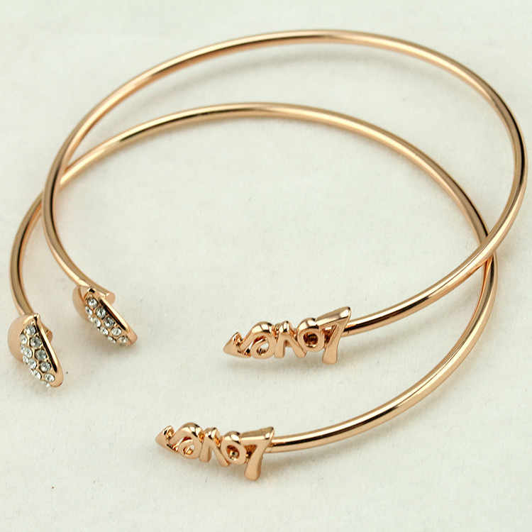 2018 New Vintage Silver Gold Adjustable Open Bangles Loving Cuff Bracelet Crystal Heart Charm Cubic Zirconia Rhinestone Jewelry