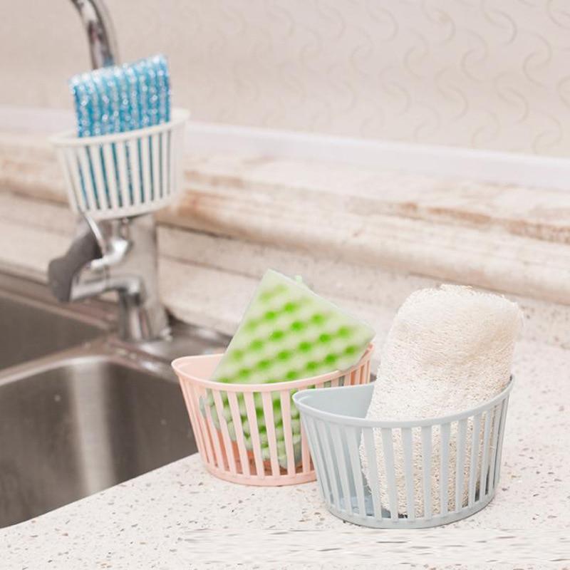 Portable Kitchen Sponge Holder Sink Dish Storage Rack Hanging Drain Basket Wall mounted Bathroom Organizer Sink Sponge Holder-in Storage Holders & Racks from Home & Garden