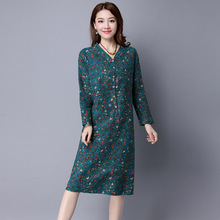 Women's Autumn Elegant V Neck Collar Floral Print Casual Wear Straight Shirt Dress Fashion New Casual Clothes