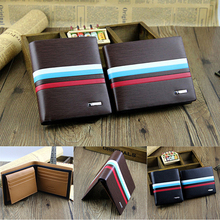 Men Stripe Bifold Faux Leather Business Wallet ID Card Holder Pocket Coin Purse BVQD