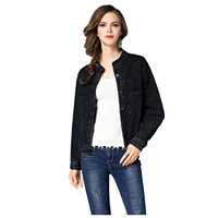 TFGS Women S New Fashion Denim Jackets Spring Autumn Vintage Long Sleeve Black Basic Jeans Jacket