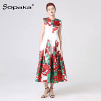 2019 summer fashion white and red floral printed sleeveless women dresses high quality runway design midi dress for woman