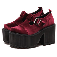 Women High Heel Pumps Rock Punk Velvet Shoes Woman Mary Jane Buckle Strap Platform Wedge Shoes