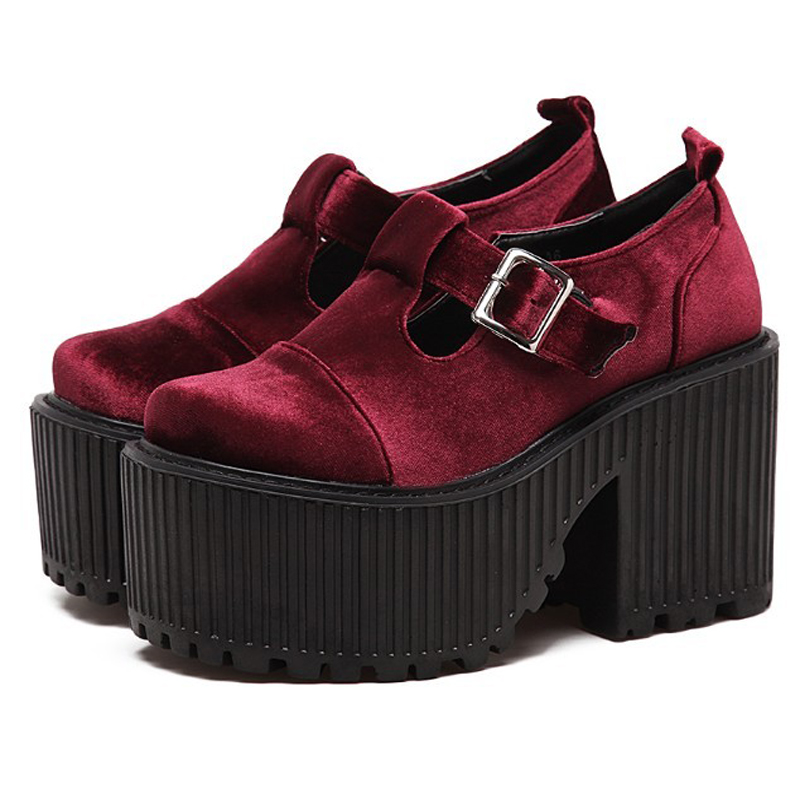 Women High Heel Pumps Velvet Shoes Woman Mary Jane Buckle Strap Platform Wedge Shoes Thick Sole Creeper Green Burgundy 10 1 inch original touch screen for asus memo pad fhd 10 me302c 5425n digitizer glass panel replacement