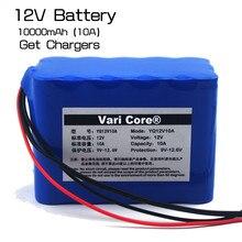 Grande capacità di 12 V 10Ah 18650 litio batteria protezione bordo 12.6 v 10000 mah capacità + 12 v 3A batteria caricatore