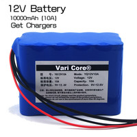 Large capacity 12V 10Ah 18650 lithium battery protection board 12.6v 10000mah capacity+ 12 v 3A battery Charger