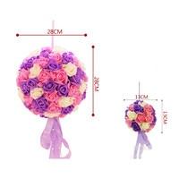 Wedding Fashion Pomander Folowers Ball DIY Party Home Favor Decoration Bride Artificial Silk Colourfast Foam Flower