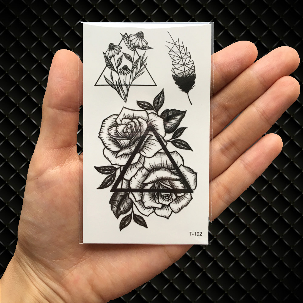 6eb6d0b21 Black Triangle Rose Flower Temporary Tattoo Summer Feather Birds