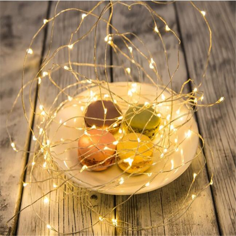 Decoration Anniversaire Party Copper Wire 10M 100LED Battery String light lamparas led strip for festival christmas wedding in LED String from Lights Lighting