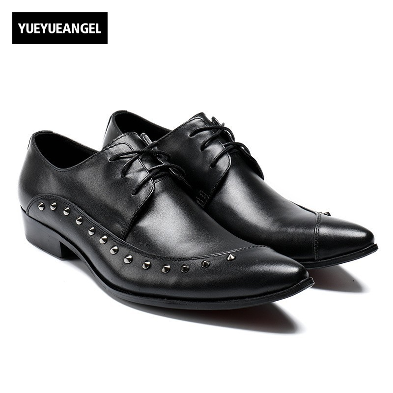 British Business Office Work Black Formal Shoes Men Lace Up Rivet Pointed Toe Party Dress Shoes Male Genuine Leather Footwear new arrival men casual business wedding formal dress genuine leather shoes pointed toe lace up derby shoe gentleman zapatos male