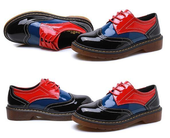 British Style Flats Patent Leather Brogue Lace-Up Oxford Shoes