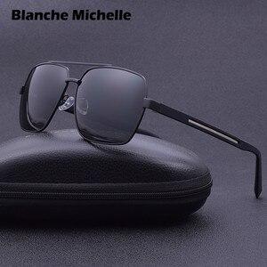 Image 3 - 2019 High Quality Square Sunglasses Men Polarized UV400 Sport Sun Glasses For Male Driving Gold Frame Retro oculos With Box