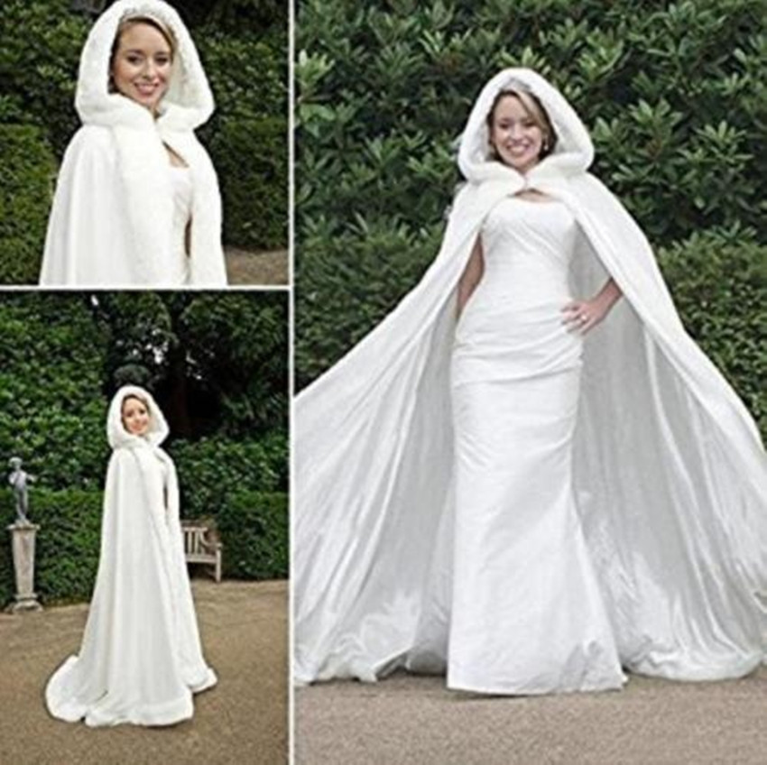 Bridal Winter Hooded Faux Fur Trim Satin Wedding Jacket Cloak Shawl Cape Mantles Wraps in White