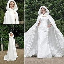 Свадебные зима с капюшоном из искусственного меха отделкой атласная Свадебная куртка Плащ шаль мыс хламиды обертывания в белого цвета и цвета слоновой кости
