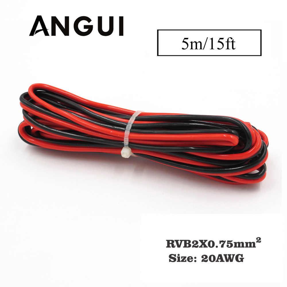 5 м x 22AWG 0,75 мм2 ПВХ изолированный 2 Pin медный провод IEC RVB ПВХ электрические кабели светодиодный светильник полоса расширение солнечной DIY подключения