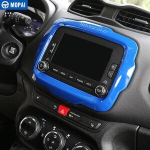 Image 3 - MOPAI Auto Center GPS Navigation Dekoration Rahmen Abdeckung Innen Aufkleber Zubehör für Jeep Renegade 2015 2017 Auto Styling