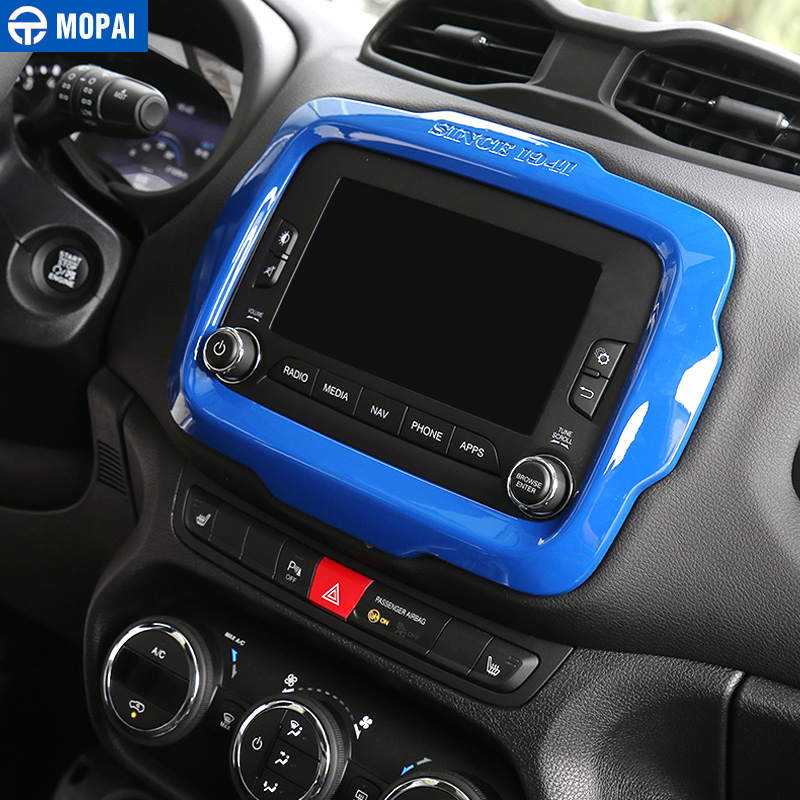 cheapest MOPAI Car Center GPS Navigation Decoration Frame Cover Interior Stickers Accessories for Jeep Renegade 2015-2017 Car Styling
