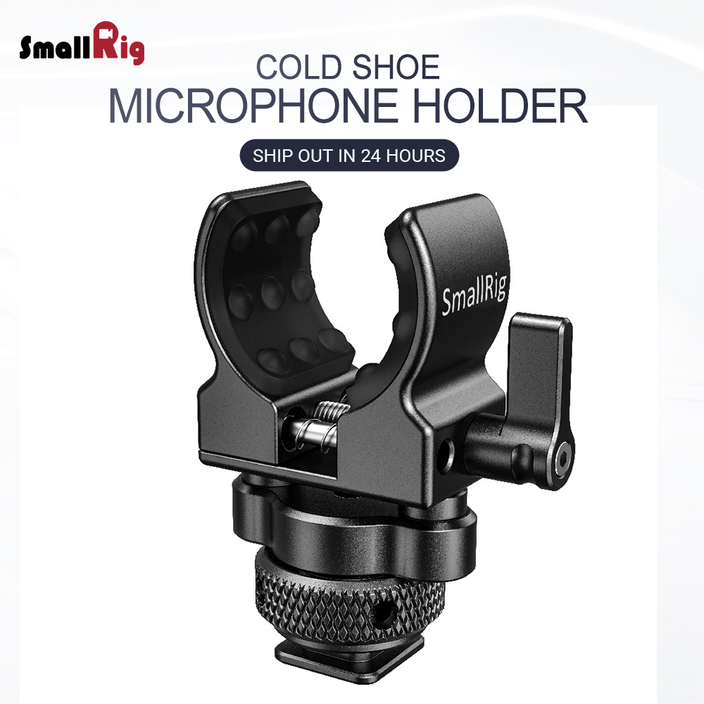 SmallRig Quick Release Cold Shoe Microphone Clamp Shot gun Microphone Holder with soft silicone to absorb