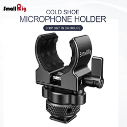 SmallRig Quick Release Cold Shoe Microphone Clamp Shot gun Microphone Holder with soft silicone to absorb bumps & noise BSM2352