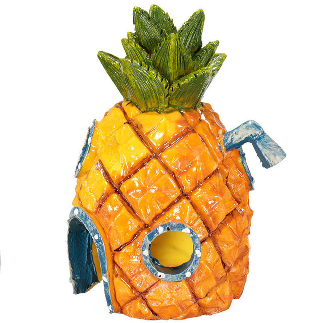 Aquarium For SpongeBob & Squidward House Pineapple Cartoon House Home Fish Tank Aquarium Ornament Decorations Escape Hole
