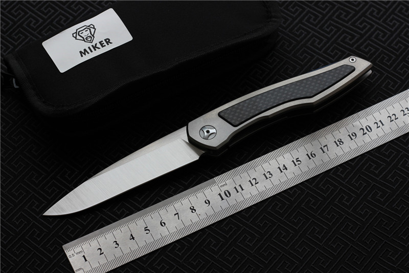MIKER Piston separated ball bearing flipper TC4 Carbon Fiber handle S35vn blade Folding camp hunt outdoor
