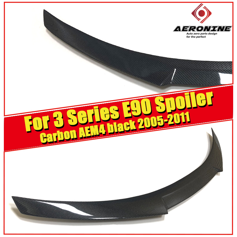 Fits For BMW E90 sedan m3 Carbon fiber trunk spoiler wing M4 style 3 series 323i 325i 328i 335d 335i wing Rear Spoiler 2005 2011 in Spoilers Wings from Automobiles Motorcycles
