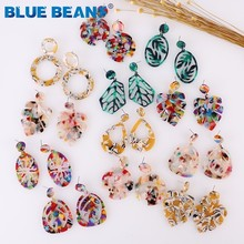 Leaves Earrings For Women Acrylic Boho Acetate Fashion Multicolor Geom