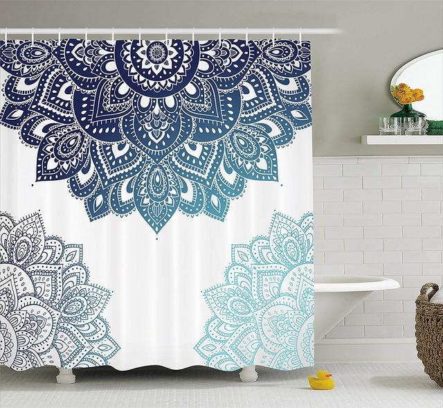 Henna Shower Curtain South Asian Mandala Design Vibrant Color Ornamental Ethnic Illustration Fabric Bathroom Decor Set Hooks
