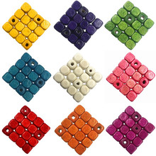 6 8mm 200/100PCS Necklace Bracelet Marking Findings Square Loose Beads 12 Colors Jewelry Accessories Wood beads DIY