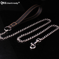 8mm 128cm Tone Stainless Steel Dog Chain Slip Collar Cuban Dog Training Choke Collar Strong Traction Practical Chain Necklaces