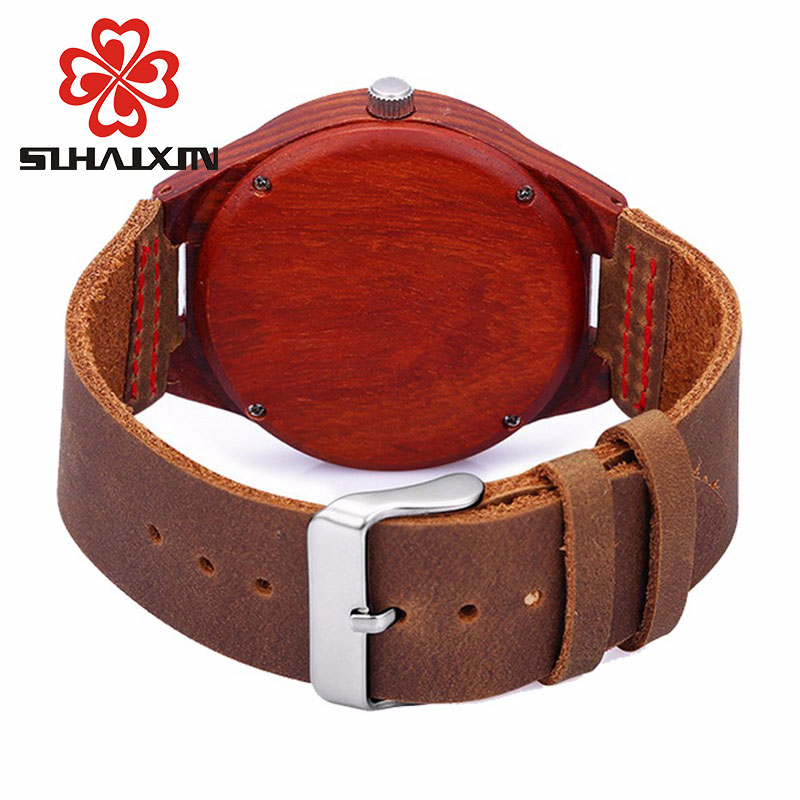 Wood Watch Billige menns Wooden Watch Red ekte Cowhide Leather Band - Herreklokker - Bilde 3