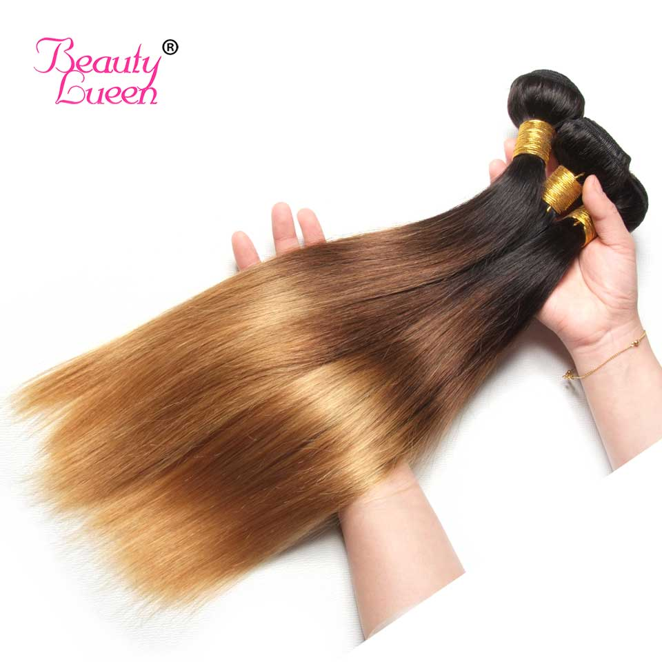 Ombre Brazilian Straight Hair Weave 3 Bundles With Closure T1B427 3 Tone Honey Blond Ombre Human Hair With Closure Remy Hair (34)