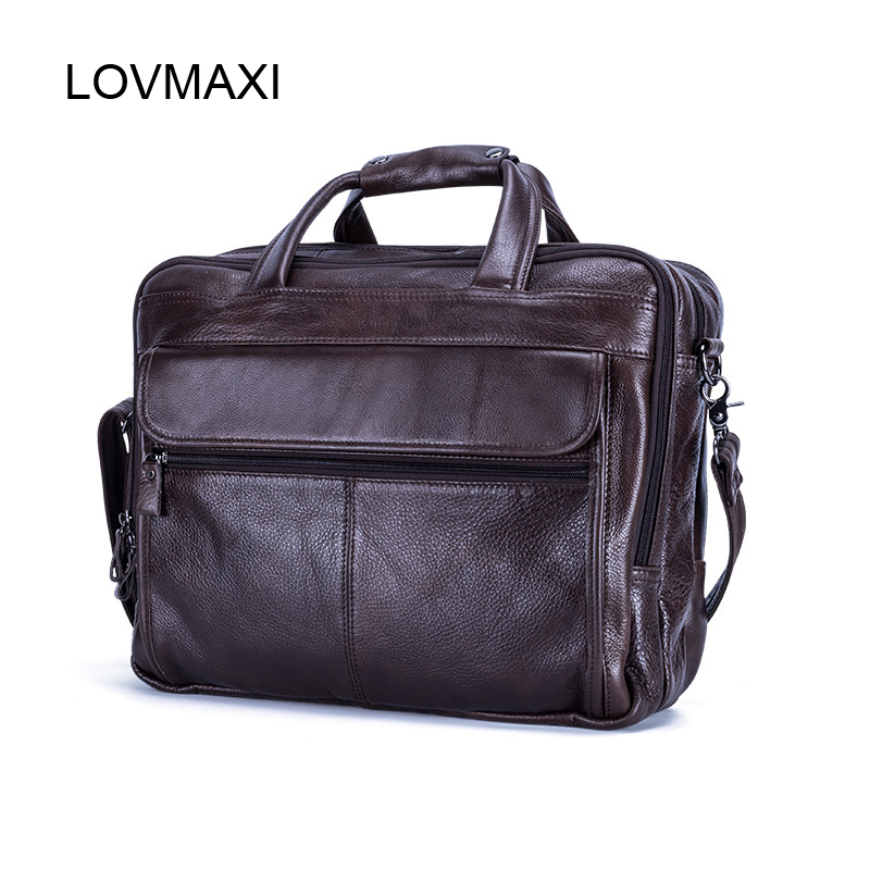 LOVMAXI 100% Genuine Leather Men's Briefcases for Male Business Handbags Causal Laptop Bags Messenger Bags Large Travel Bag