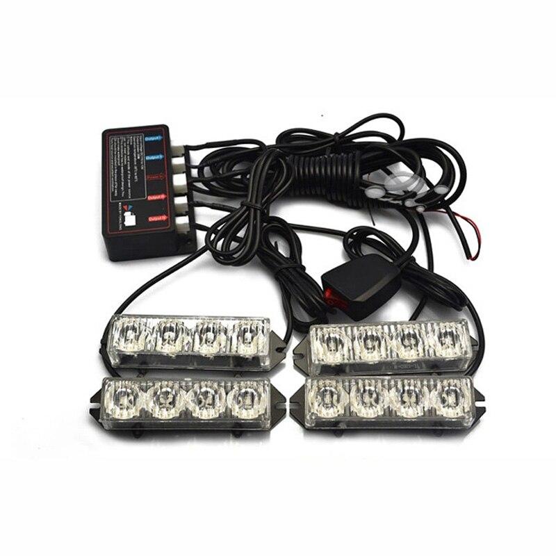 HEHEMM 4 in 1 16 LED Daytime Flash Lamp Strobe Warning Lights for Emergency Vehicles 12V ...