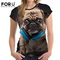 FORUDESIGNS 3D Pug Dog Women Casual T Shirt For Teen Girls Summer Female Shirt Short Sleeved
